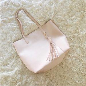 Handbags - nwot // pink vegan leather tote + tassel bag charm